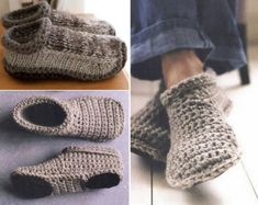 crochet and knitted slippers free Pattern