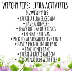 Litha is coming! ☀️ It's all about the sun, flowers, fae and long hot nights! Make sure to soak in the sun but please remember sunscreen… Green Witchcraft, Wicca Witchcraft, Magick, Summer Solstice Ritual, Winter Solstice, Wiccan Sabbats, Paganism, Grimoire Book, Modern Witch