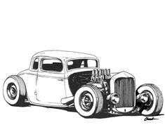 Art & Inspiration - >>>>> Friday Art Show <<<<< Cool Car Drawings, Art Drawings Sketches, Mustang Drawing, Hot Rod Tattoo, Dibujos Pin Up, Bmw Autos, Cars Coloring Pages, Old School Cars, Truck Art