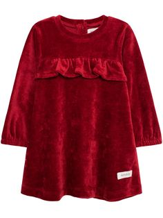 Julekjole, Rød, Kids - KappAhl Red Velvet Dress, Simple Dresses, Everyday Outfits, Ruffle Dress, Fur Coat, Cotton, Baby, Jackets, Festive