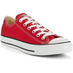Converse Women's All Star Sneakers ($50) ❤ liked on Polyvore featuring shoes, sneakers, converse, flats, footwear, red, flat pumps, lace up flats, red shoes and lacing sneakers