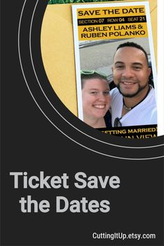 All of my Save the Date designs are available as printed tickets, printed magnets or a digital Printable Template. CuttingItUp.etsy.com Softball Wedding, Basketball Wedding, Golf Wedding, Sports Wedding, Reception Signs, Wedding Reception, Wedding Ideas, Ticket Invitation, Invitations