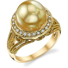 Golden South Sea Pearl & Diamond Natasha Ring ($1,249) ❤ liked on Polyvore featuring jewelry, rings, golden, 18k ring, south sea pearl jewelry, south sea pearl ring, golden jewelry and 18 karat gold ring