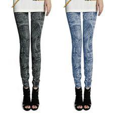 New Women Fashion Leggings Stretch Skinny Leggings Tights Pencil Pants Casual Pocket Pattern Jeans