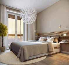 Bedroom, Round Light Grey Furry Rug White Dandellion Hanging Lamp Framed Glass Door Brown Wooden Floor: Beige Colour Schemes for Bedrooms