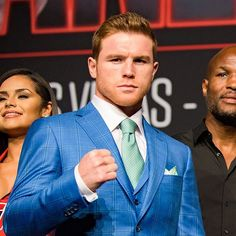 World WBC Middleweight Boxer Saul @canelo Alvarez looking like a true Champion in @davidaugustclothing at his Press conference today in preparation for his Saturday night Fight! #MensFashion #Canelo #Boxing #DavidAugust