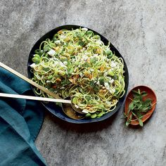 Zucchini Noodles with Fava Beans, Mint and Garlic | Healthy Recipes