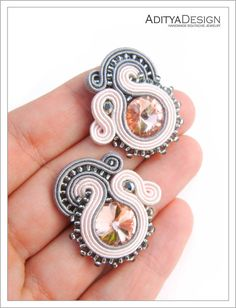 Clip-on Pink Earrings Soutache Earrings Pink Gray от AdityaDesign