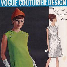 Federico Forquet Coat Dress 60s Vogue Couturier Design Vintage Sewing Pattern 1837 Bust 34 UNCUT FF