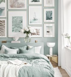 Living Room Paint, Home Bedroom, Gallery Wall Inspiration, Living Room Decor, Home Decor, House Interior, Bedroom Inspirations, Blue Bedroom, Beach Bedroom Decor