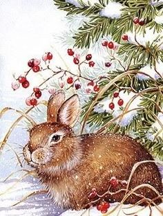 Snowman Christmas Animals, Christmas Pictures, Christmas Art, Christmas Illustration, Cute Illustration, Watercolor Animals, Watercolor Paintings, Rabbit Art, Pallet Painting