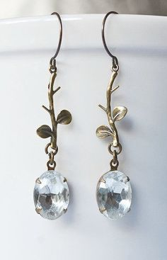 Vintage jewel earrings crystal dangles bridal