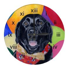 Black Labrador Happy Birthay Painting Clocks