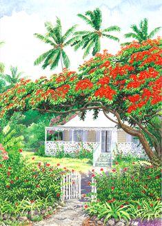 Elegance by Anne Miller, x watercolour print Watercolor Print, Watercolor Paintings, Watercolours, Caribbean Homes, Pop Up Art, Ann Miller, 3d Cards, Beautiful Paintings, Elegant