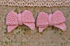 Dangle earrings  Pink knit cotton earrings  by echocraftings