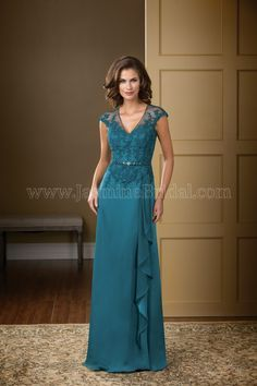 Jasmine Bridal Mother of the Bride/Groom Jade Couture Style K178001 in Teal Blue. An elegant option for your next special occasion. A V neckline and A-line skirt come together to create a classic silhouette, and the beautiful satin face chiffon fabric is touched up with lace and beading on the bodice on sash.
