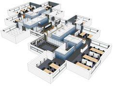 De Z-vormige bouwkundige kernen vormen letterlijk en figuurlijk de blauwe draad door het interieur. Ruimtelijk verbinden ze de kantoortuinen en symbolisch verbinden ze de drie bedrijven die hier samenwerken.