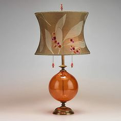 Natalia (Orange Glass): Caryn Kinzig and Susan Kinzig: Mixed-Media Table Lamp - Artful Home Orange Table Lamps, Lamp Table, Media Table, Lampe Decoration, Contemporary Home Decor, Drum Shade, Hand Blown Glass, Floor Lamp, Bulb