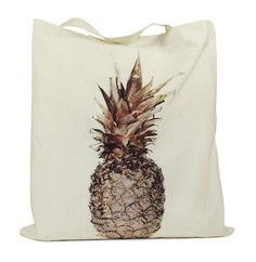 B+F / Gilded Tote / Pineapple Tote Bag, Totes, Pineapple, What To Wear, Passion, Tattoos, Casual, Gift Ideas, Tatuajes