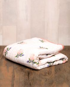 Cotton Muslin Quilt - Watercolor Rose