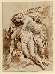 Peter Paul Rubens – Venus lamenting over the dead Adonis, 1592-1640; Pen and brown ink