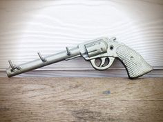 BOLD hammered bronze painted pistol hook // jewelry hanger storage key hook // modern western cowgirl cowboy // modern men's