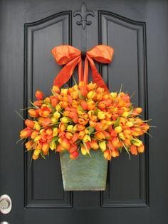 Spring Tulips  Farmhouse Tulips  XL Front Door by twoinspireyou, $110.00