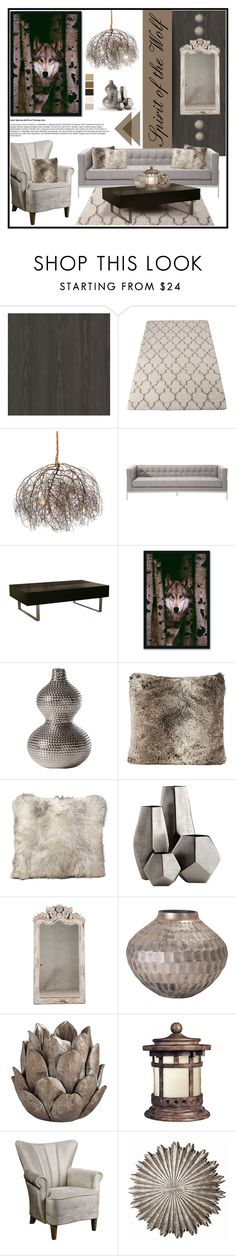 """""""Spirit of the Wolf"""" by sassyfashionista-101 on Polyvore featuring interior, interiors, interior design, home, home decor, interior decorating, Brewster Home Fashions, Amanti Art, Dot & Bo and Cyan Design"""
