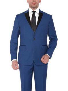 #MensUSA - #Mensusa Products Men's 1 Button Single Breasted Wide Satin Peak lapel Blue Platinum Slim fit Tuxedo - AdoreWe.com