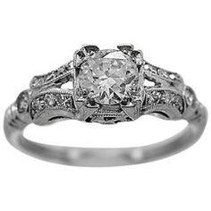 Art Deco Colombian Emerald and Diamond Ring Starožitné Zásnubní Prsteny 4716c0aca6e