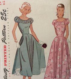 Simplicity 2392 vintage 1940's misses one piece dress