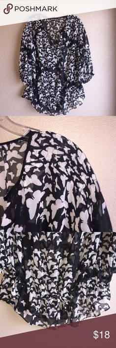 Zara Sheer Butterfly Print Blouse Gorgeous sheer Blouse! Pretty black and white butterfly print. Zara Tops Blouses