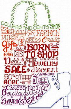 Lets Shop til we Drop - cross stitch pattern designed by Ursula Michael. Category: Words.