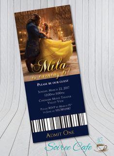 Beauty and the Beast Birthday Invitation -NEW Movie Ticket {Digital File} 2017 Beauty and the Beast, Belle Invitation