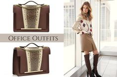 Snakeskin handbag with golden metallic accessories for a perfect office outfit @wi