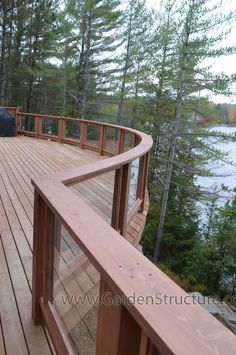 Curved Glass Railings on a Deck