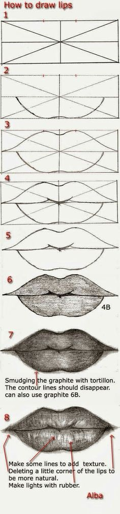Delineate Your Lips - Tutorial draw lips by lamorghana on deviantART - How to draw lips correctly? The first thing to keep in mind is the shape of your lips: if they are thin or thick and if you have the M (or heart) pronounced or barely suggested. Drawing Lessons, Drawing Techniques, Drawing Tips, Drawing Sketches, Pencil Drawings, Art Lessons, Painting & Drawing, Art Drawings, Drawing Ideas