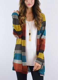 Look at this éloges Burgundy & Yellow Stripe Elbow Patch Open Cardigan on today! Kimono Cardigan, Striped Cardigan, Yellow Stripes, Color Stripes, Thing 1, Pullover, Open Front Cardigan, Cardigans For Women, Mantel