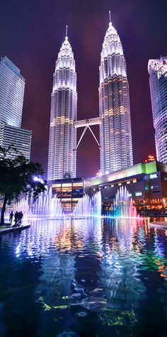 Petronas Towers in Kuala Lumpur. Great to see them both during the day and at night. The 'son et lumiere' show is awesome in the evening.