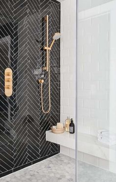 If you are confused what kind of shower room design suits your room. Below you can select design trend shower room. Inspiration design shower room tha… - New Deko Sites Diy Bathroom, Modern Bathroom, Bathroom Ideas, Bathroom Black, Shower Bathroom, Bathroom Marble, Shower Tiles, Spa Shower, Master Shower