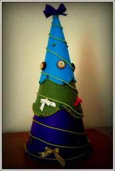 DIY_Christmas tree_small_unconventional colors, felts-recycled buttons, ribbons, wollen yarn, beads