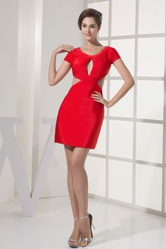 Column Elastic Silk Like Satin Short Sleeve Zipper Mini-length Red Cocktail Dress