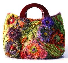 "Freeform crochet and knit handbag - ""ha! just repinning another of my creations found on pinterest"" - Prudence www.knotjustknitting.com"