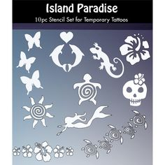 fa6a054cc Island Paradise Tattoo Stencil Set for Glitter Tattoos and Temporary Tattoos  for Children and Teenagers includes