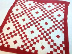 Vintage Double Irish Chain Red and White Patchwork for by Patalier, $32.50