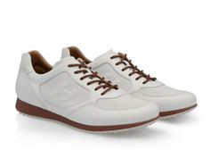 Hogan mens H205 Olympia X sneakers in white Leather