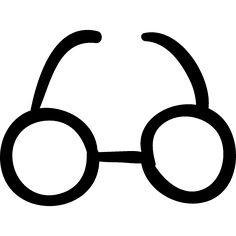Circular eyeglasses hand drawn tool logo