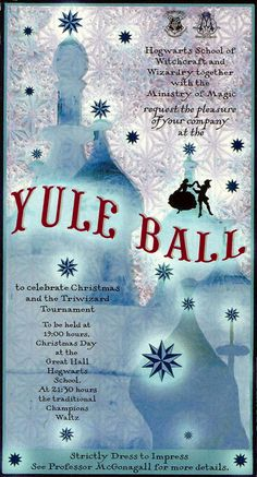 Yule Ball invitation<<But no hint to Hogwarts or Harry Potter because some families don't do HP