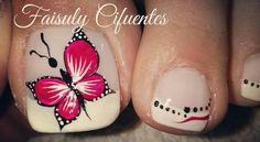 Flower Toe Designs, Butterfly Nail Designs, Butterfly Nail Art, Cute Pedicure Designs, Toenail Art Designs, Pedicure Nail Art, Toe Nail Art, Cute Toe Nails, Fun Nails
