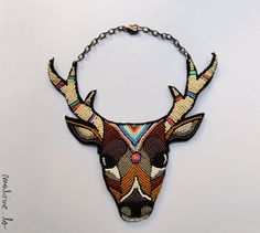 "Colorful beaded statement animal necklace, with deer ""The Nature in You"" - MADE TO ORDER"